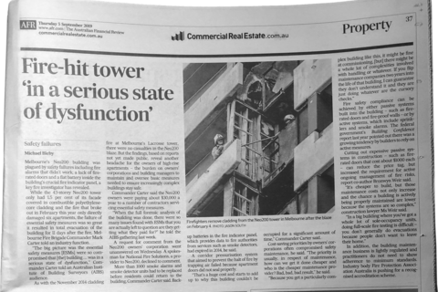 AFR, September 5, 2019 - Fire-hit tower 'in a serious state of dysfunction'