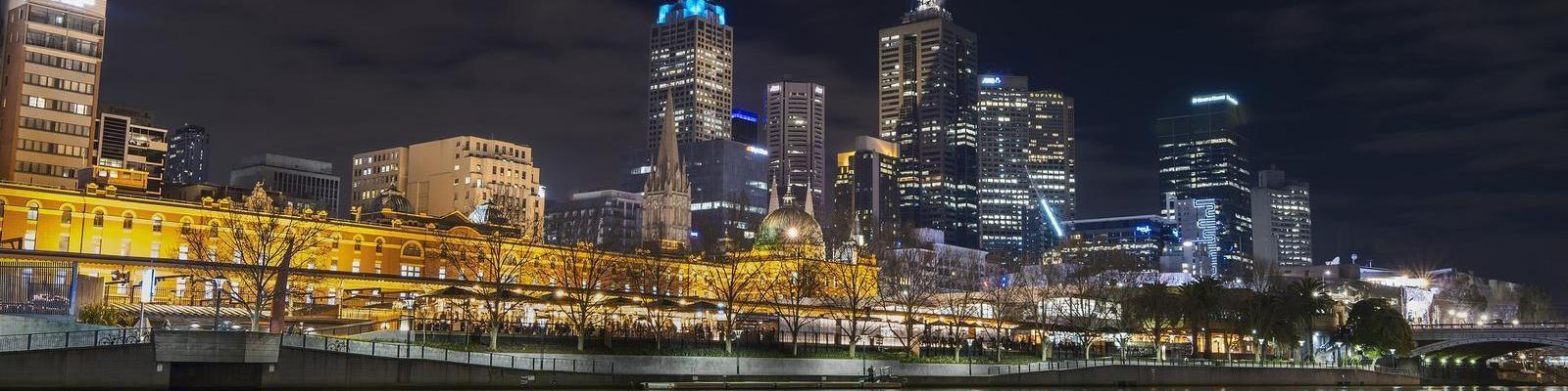 Melbourne Skyline (Flinders Street) at Night